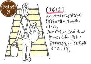 [階段]メインフロアが2階なので階段の幅を14cm広くしました。たかが14cmされど14cm!少しのことですが荷物をもっていても余裕があります。